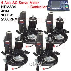 1KW 4Axis AC Servo Motor 4NM Driver Kit 2500RPM NEMA34 CNC Controller for Router