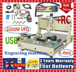 2.2KW USB 4 Axis CNC 6090 Router Engraver Drill Metal Cutter Machine+controller