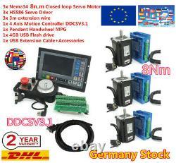 3 Axis NEMA 34 8N. M Closed loop Stepper Motor Driver DDCSV3.1 Controller CNC Kit