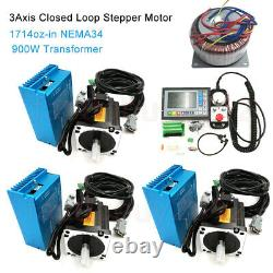 3Axis 12NM CNC Closed Loop Stepper Nema34 Motor Drive+Transformer+Controller Kit