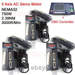 3Axis 750W 2.39NM AC Servo Motor NEMA32 Dricer & Controller KIt for CNC Milling