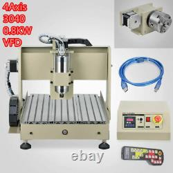 4Axis 3040 CNC Router Engraver Milling Engraving Machine USB+Controller UK