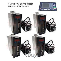 4Axis/3Axis 1KW 4NM CNC Servo Motor AC Servo Driver Kit&Controller fr CNC Router