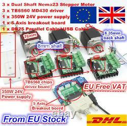 EU 3Axis Mach3 CNC Controller Kit Nema23 270oz-in 3A Stepper Motor &4P Drivers