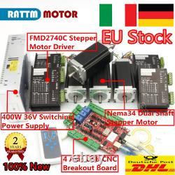 EU4 Axis USB CNC Controller Kit Nema23 Stepper Motor 425Oz. In&4P Drivers 4A 36V