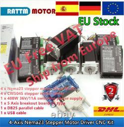 FRA4 Axis LPT MACH3 CNC Controller Nema23 Stepper Motor Driver Kit 425oz 112mm