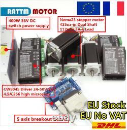 FRA4 Axis MACH3 CNC Kit CW5045 Driver Controller+Nema23 Stepper Motor 425Oz-in