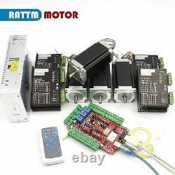 UK4Axis USB CNC Controller Kit Nema23 Stepper Motor Driver 2.8Nm/425Oz. In/112mm
