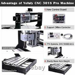 Upgraded CNC 3018 Pro Wood Router GRBL Control Engraving Machine, 3 Axis PCB